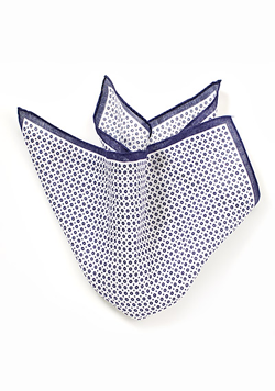 Designer Linen Pocket Square in White and Blue