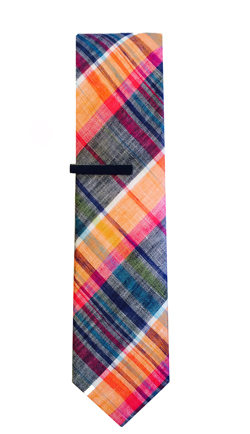 Summer Madras Plaid in Orange and Blue
