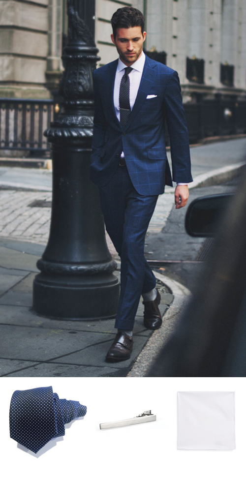 Polka Dot Tie and Blue Suit