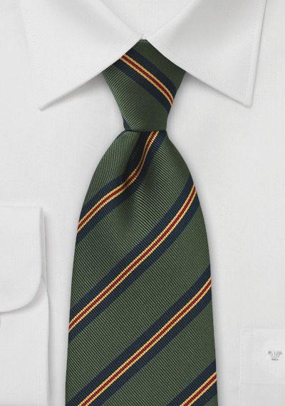 Striped Regimental Tie in Green