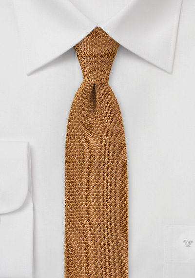 Knit Tie in Vintage Gold