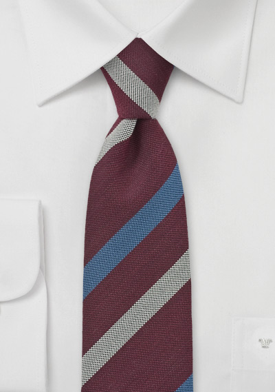Marsala + Blue Striped Tie
