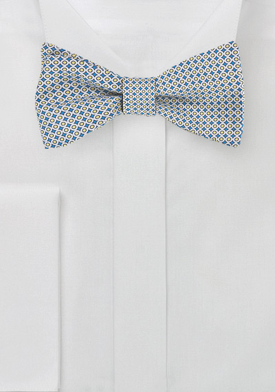 Geometric Bow Tie in Blue + Yellow