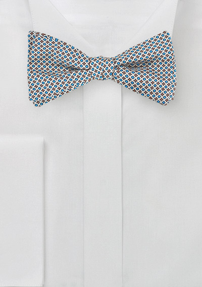 Geometric Bow Tie in Silver and Blue
