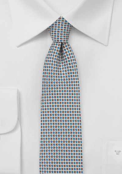 Geometric Tie in Blue and Gray