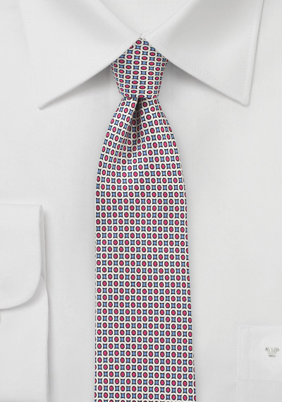 Designer Mod Tie in Red + Blue