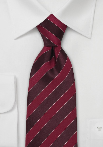 Designer Striped Tie in Burgundy + Red