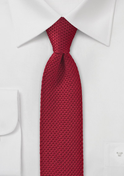Skinny Knit Tie in Cherry Red