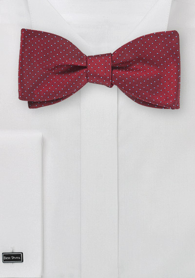Cherry Red Pin Dot Bow Tie