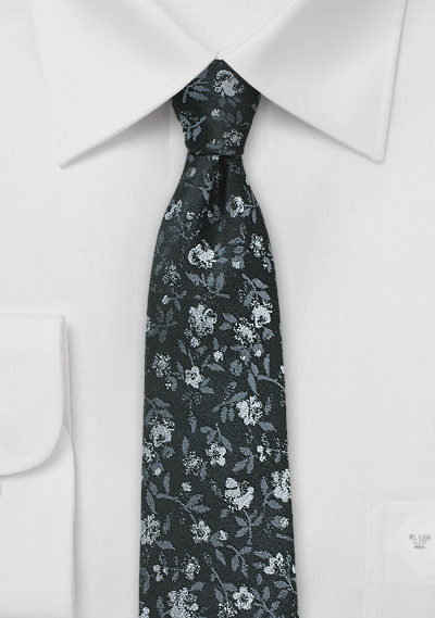 Floral Tie in Black + Charcoal