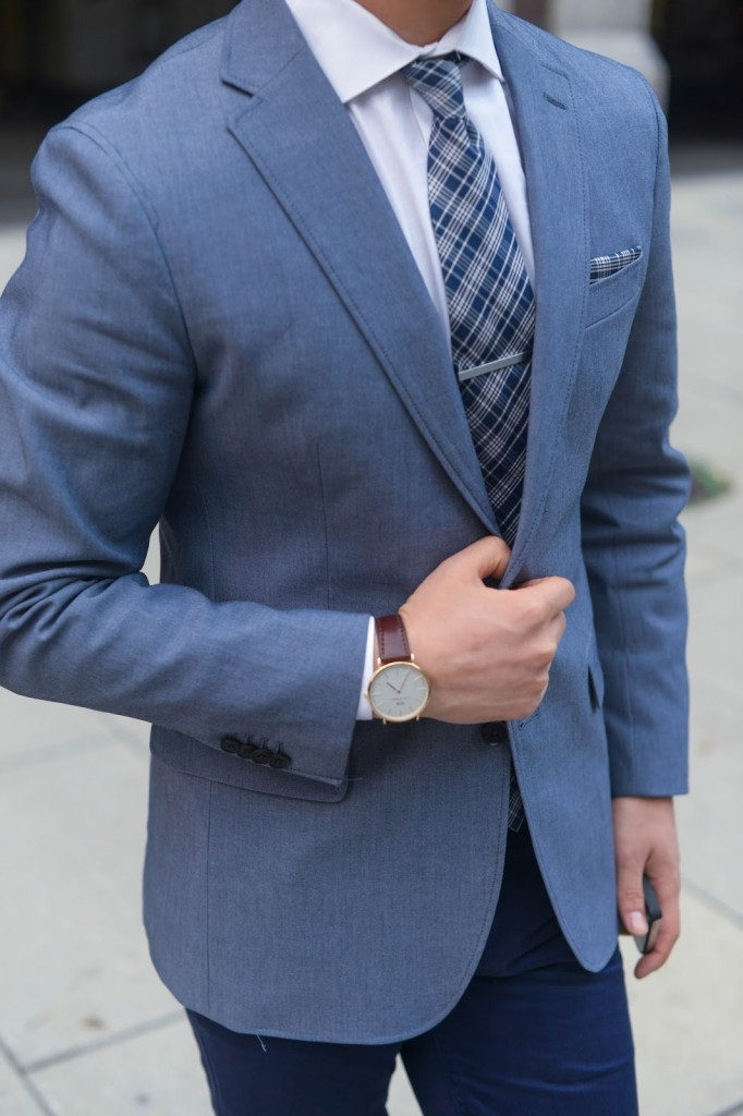 Modern Blue Plaid Tie