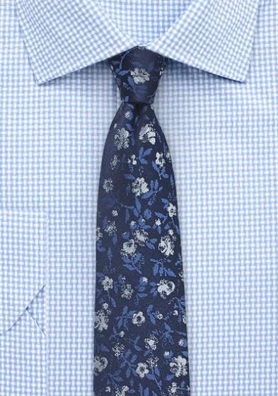 Designer Floral Tie in Navy
