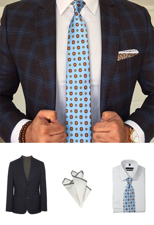 Get the Look - Plaid Suit and Floral Tie