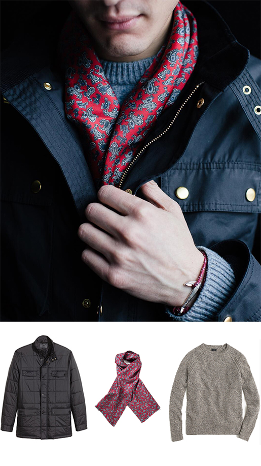 Traditional Scarf and Modern Jacket For Men