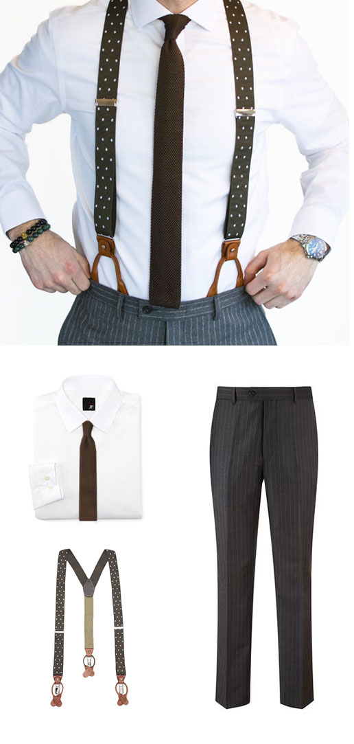 Knit Tie and Polka Dot Suspenders