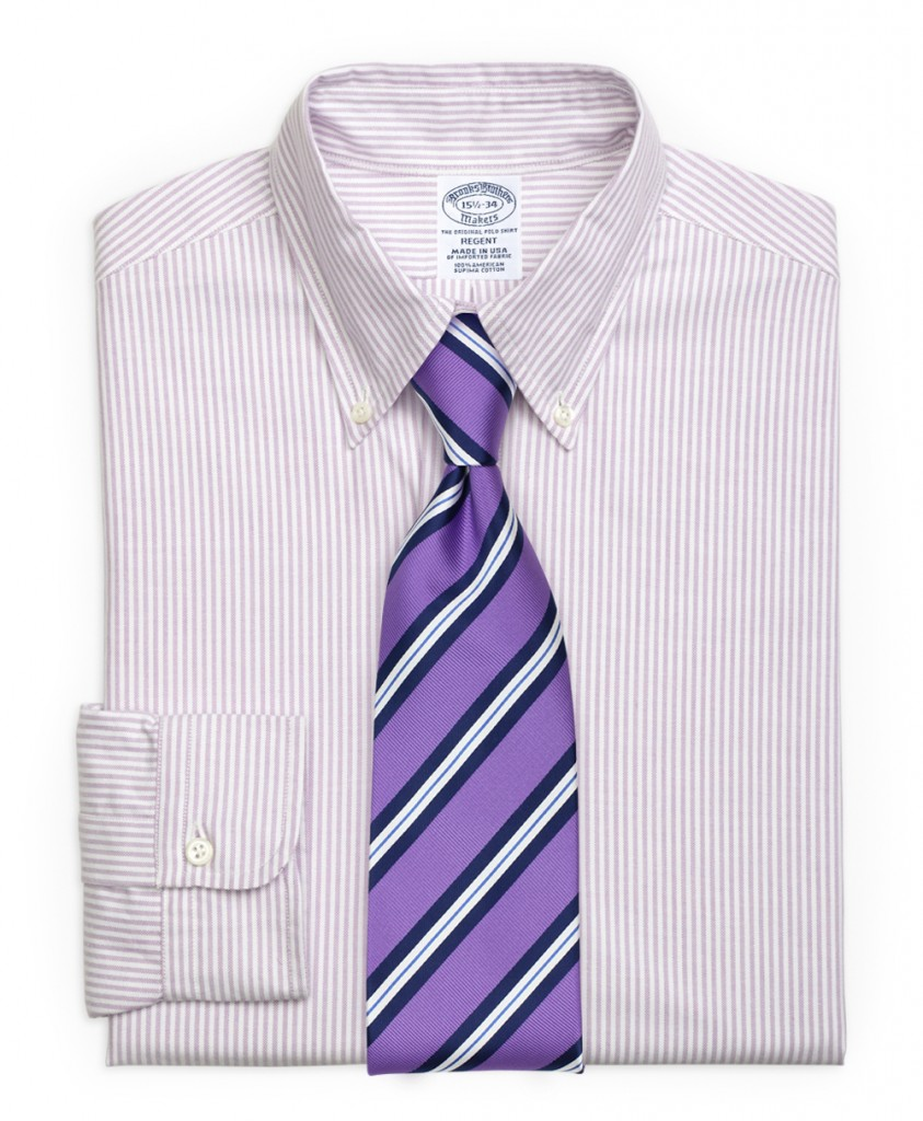 Purple Striped Tie in Lilac Striped Shirt