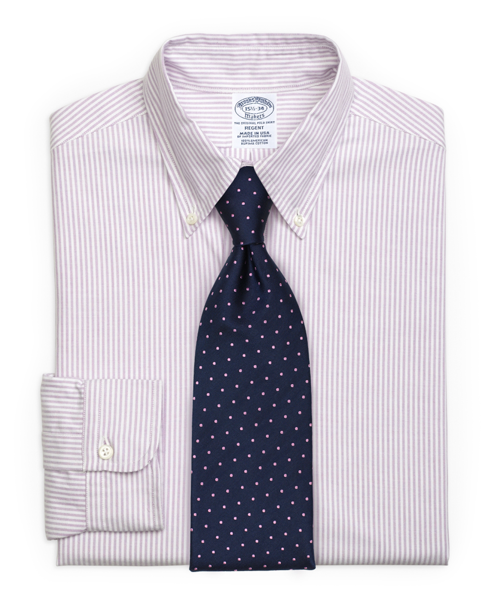 What ties to pair with the trending lilac striped oxford for Striped shirt with tie