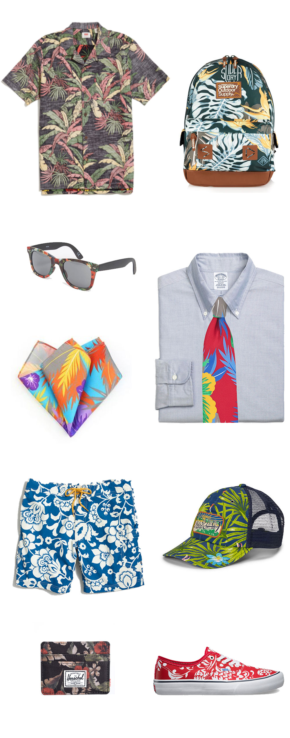 Hawaiian Print Menswear Pieces