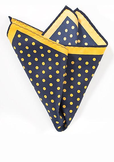Yellow and Navy Polka Hanky