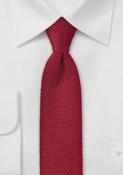 Skinny Red Knit Tie