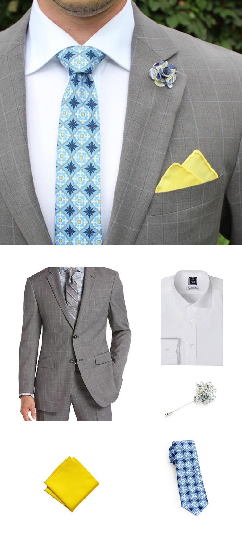 Designer Tile Tie and Pocket Square
