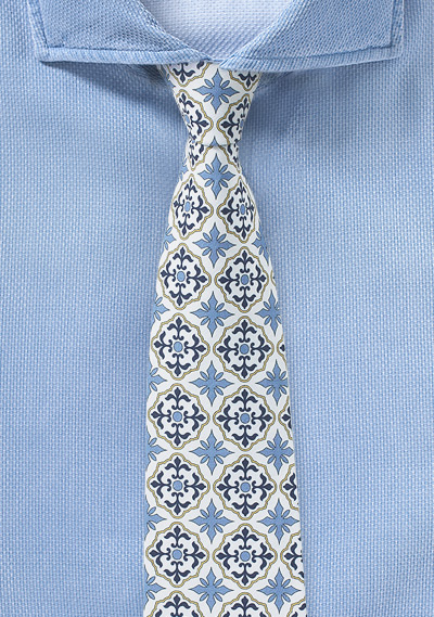 Mexican Tie in White and Gold