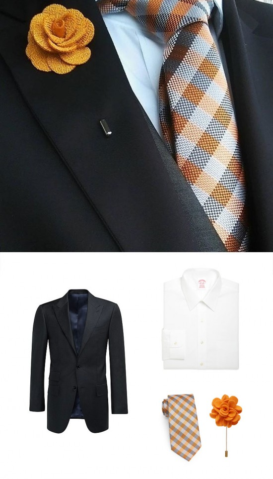 Shop This Look - Black Suit + Orange Necktie