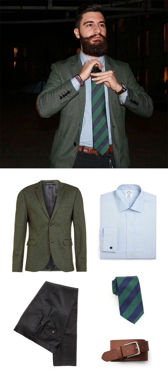 Mens Winter Look: Green Blazer + Striped Necktie