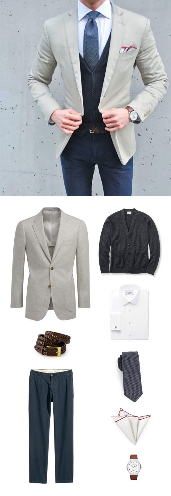Menswear Outfit - Navy Tweed Necktie