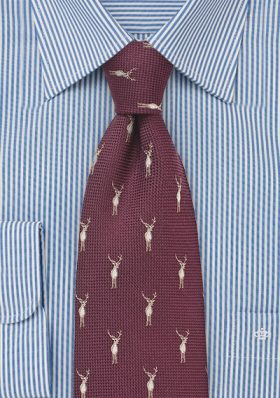 Maroon Red Tie With Stags