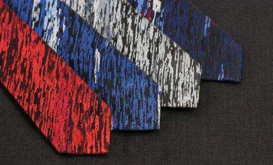 Mens Skinny Wood Grain Weave Necktie