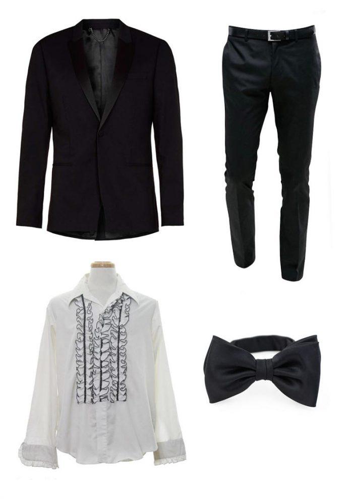 2ccd68849b01c Ryan Gosling Oscars 2017 - Black Tuxedo + Black Bow Ties. Ryan Gosling.  Black Jacket With Contrast Lapel · Black Pants · White + Black Ruffled Dress  Shirt