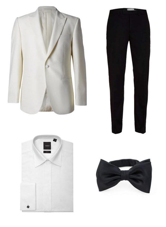 Dev Patel Oscars 2017 - White Tux Jacket + Black Bow Tie