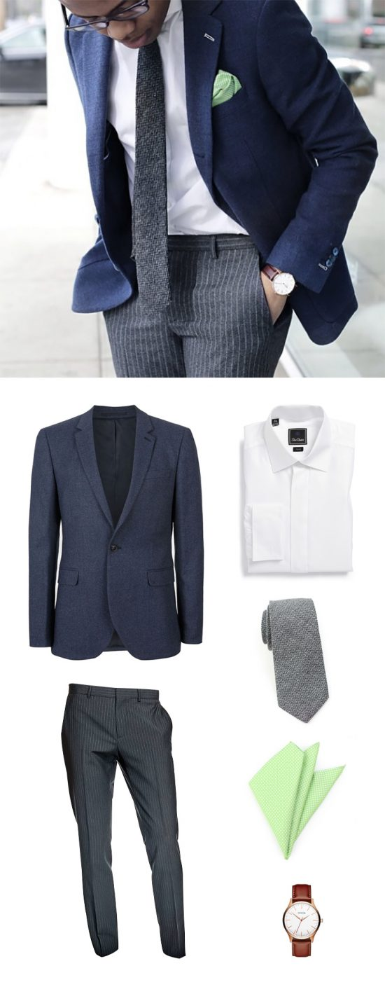 Shop This Classic Mens Look: Navy Jacket + Herringbone Tie