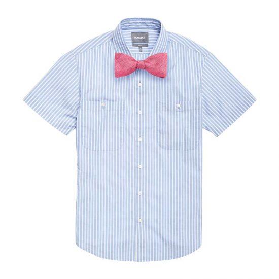 Blue Cactus Stripe Shirt + Linen Azalea Pink Bow Tie