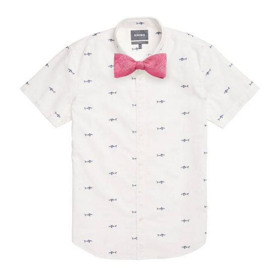 Blue Shark Attack Shirt + Linen Azalea Pink Bow Tie