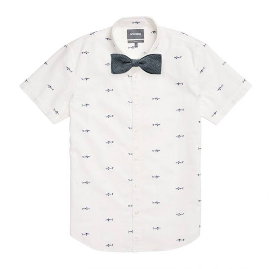 Blue Shark Attack Shirt + Woven Metallic Grey Self Tied Bow Tie