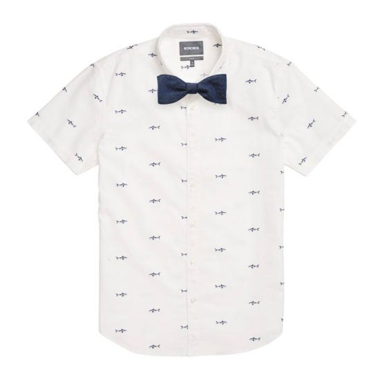 Blue Shark Attack Shirt + Metallic Blue Self Tied Bow Tie