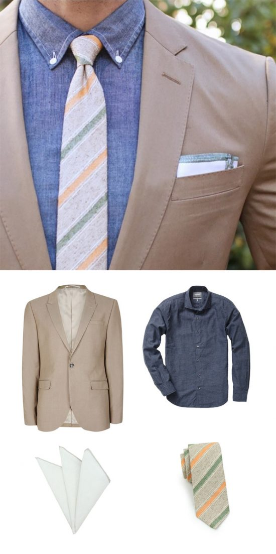 Get The Look - Chambray Shirt + Skinny Tan Necktie