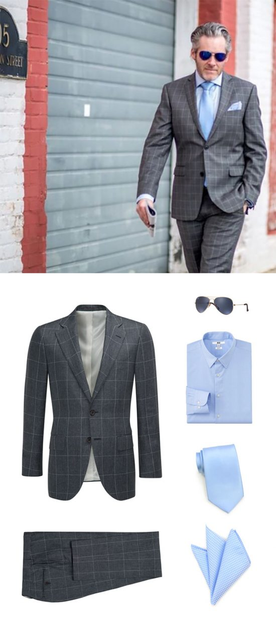 Shop The Look - Mens Windowpane Suit + Light Blue Tie