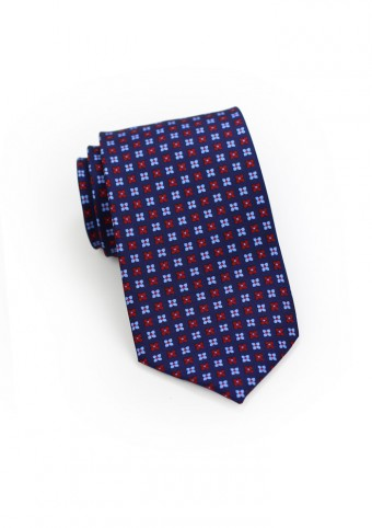 Floral Tie in Navy, Blue, and Red