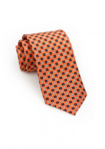 Carrot Orange Tie with Flowers in Blue and Peach