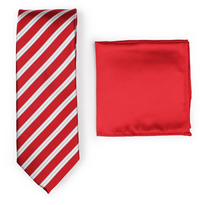 Pairing Red Striped Necktie to Solid Red Pocket Square