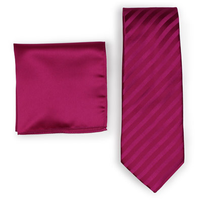 Pairing Magenta Striped Necktie to Solid Pocket Square