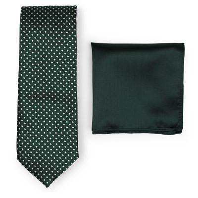 Hunter Green Necktie Paired to Solid Green Pocket Square