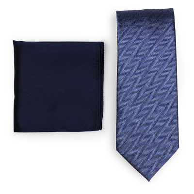 Herringbone Blue Necktie Paired to Solid Navy Pocket Square