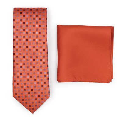 Amber Orange Geometric Tie Paired to Persimmon Pocket Square