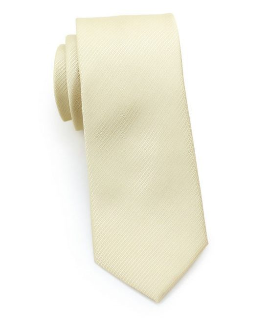 Ribbed Textured Skinny Tie in Cream