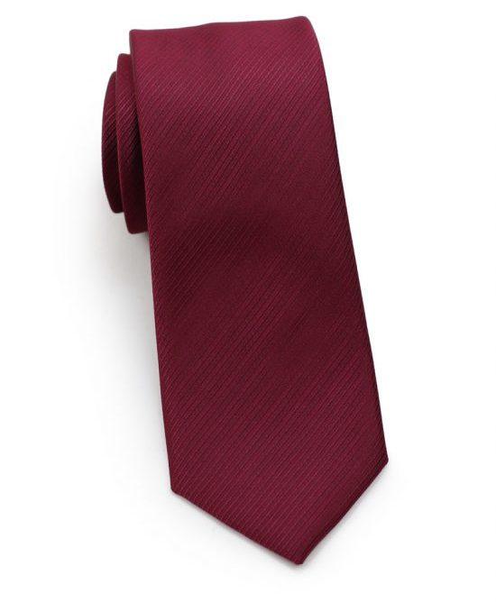 Burgundy Red Skinny Tie with Stripe Texture