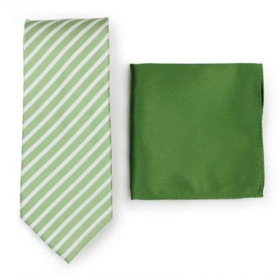 Seafoam Green Striped Necktie Paired to Solid Ferm Green Pocket Square